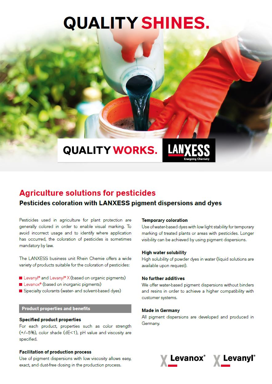 Pesticides coloration with LANXESS pigment dispersions and dyes