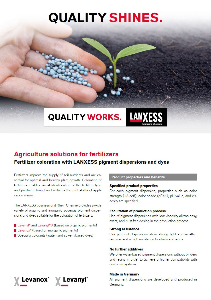 Fertilizer coloration with LANXESS pigment dispersions and dyes