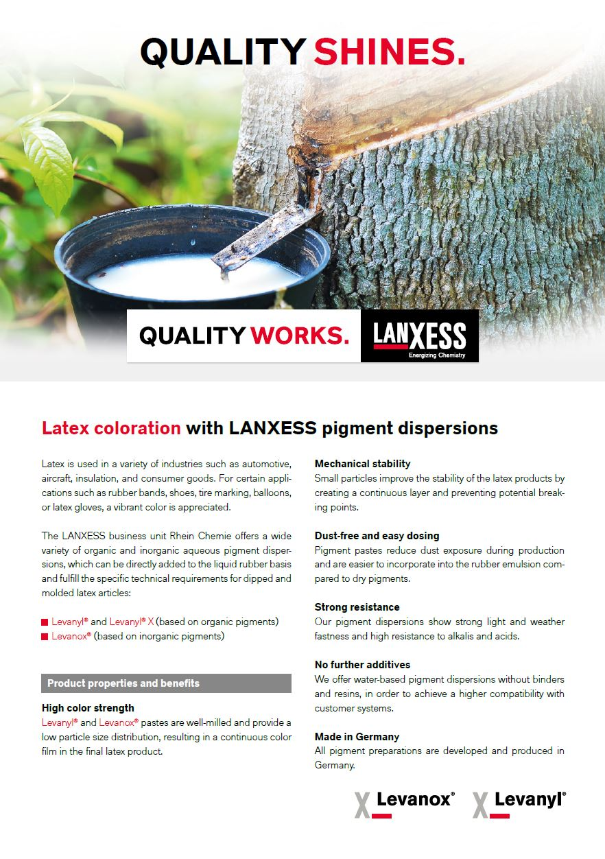 Latex coloration with LANXESS pigment dispersions