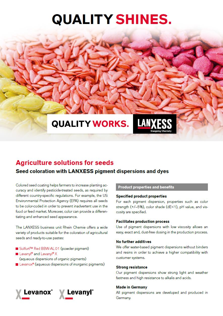 Seed coloration with LANXESS pigment dispersions and dyes